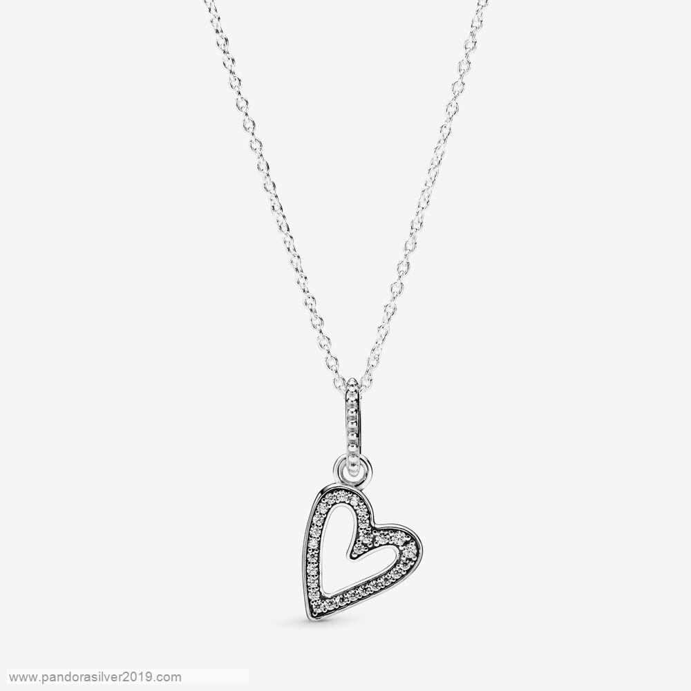 Pandora Store Specials Glittering Heart Pendant Necklace