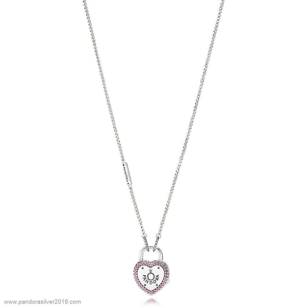 Pandora Store Specials Lock Your Promise Necklace Fancy Fuchsia Pink