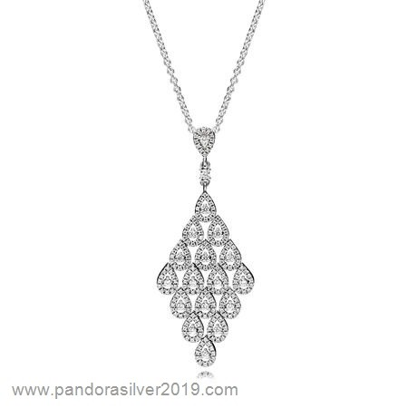 Pandora Store Specials Pandora Chains With Pendant Cascading Glamour Necklace Pendant Clear Cz