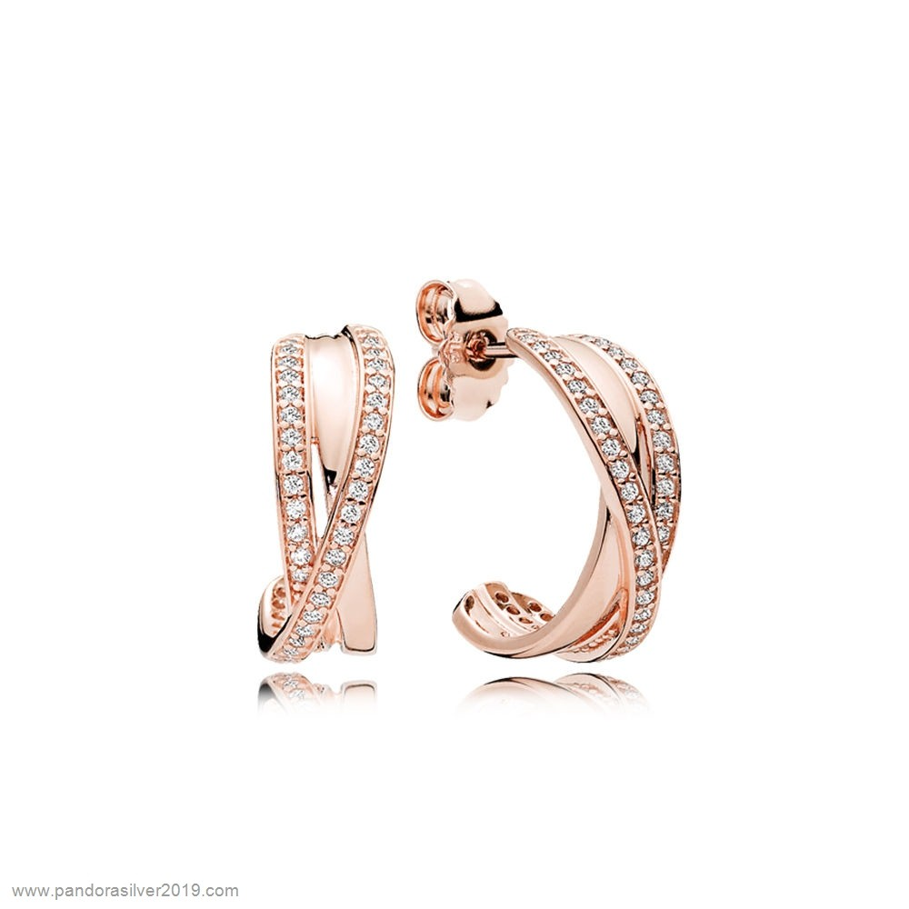 Pandora Store Specials Entwined Hoop Earrings Pandora Rose Clear Cz