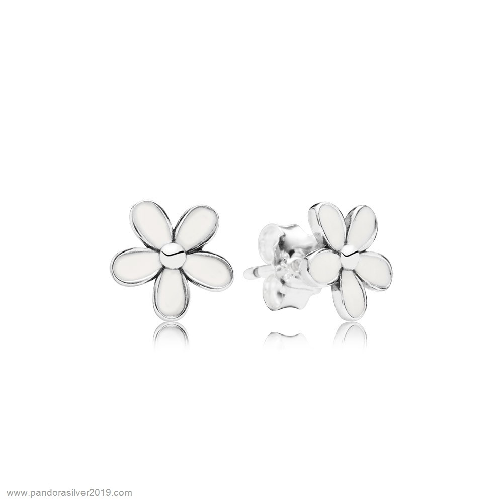 Pandora Store Specials Pandora Earrings Darling Daisies Stud Earrings White Enamel